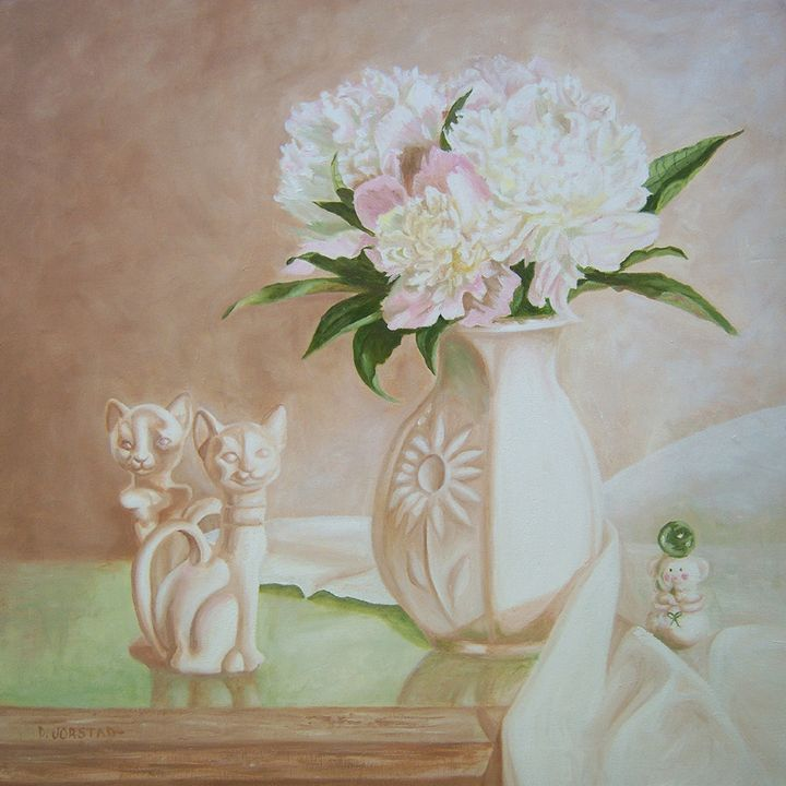 Peony and Cats oil painting wall art - Diane Jorstad's art  studio