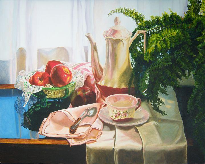 Fern & Teapot still life art - Diane Jorstad's art  studio