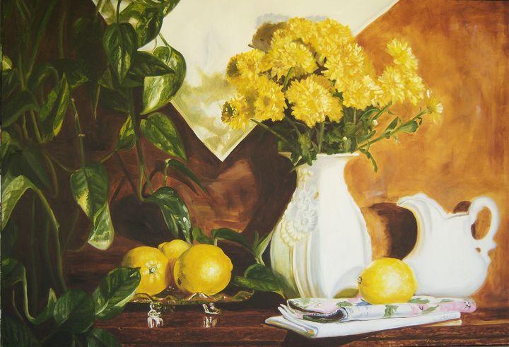 Golden lemons still life art - Diane Jorstad's art  studio