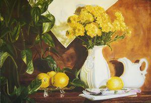 Golden lemons still life art