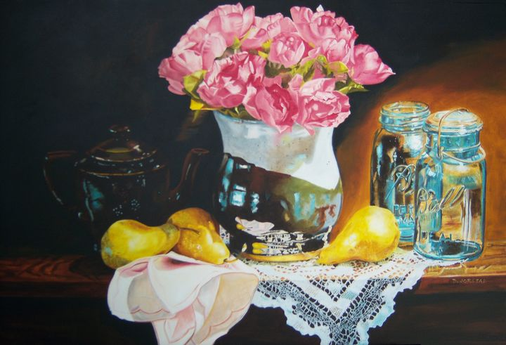 Pink Flowers - Pears still life art - Diane Jorstad's art  studio