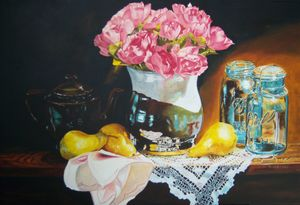 Pink Flowers - Pears still life art