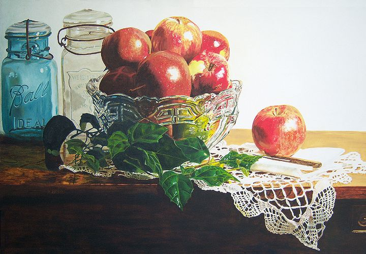 Bowl Full of Apples oil painting - Diane Jorstad's art  studio