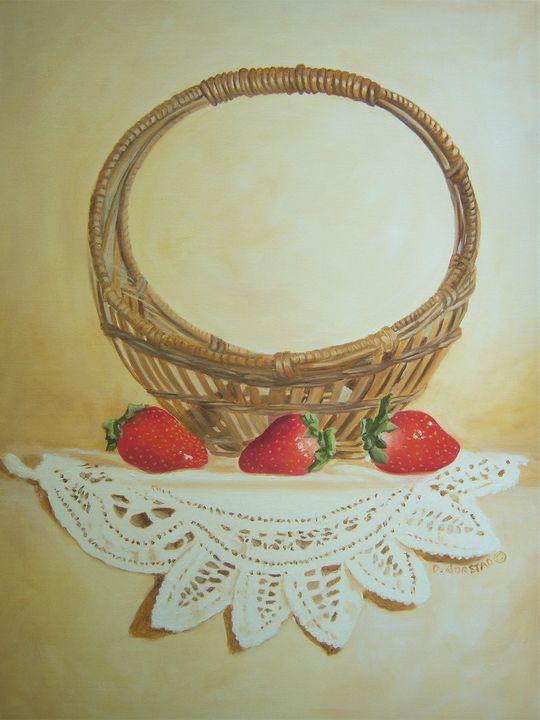Basket  - Strawberries wall art - Diane Jorstad's art  studio