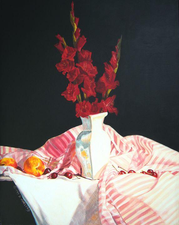 Red Glads stripes fruit aart - Diane Jorstad's art  studio