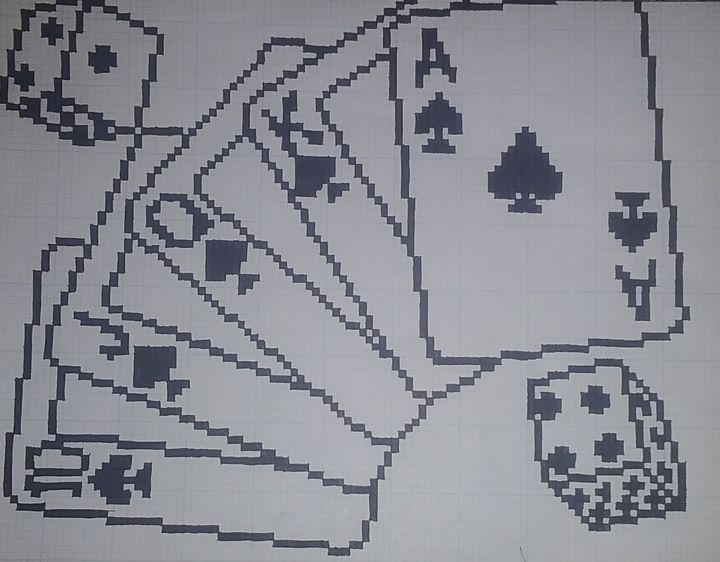 Royal Flush with dice - Pixel aet