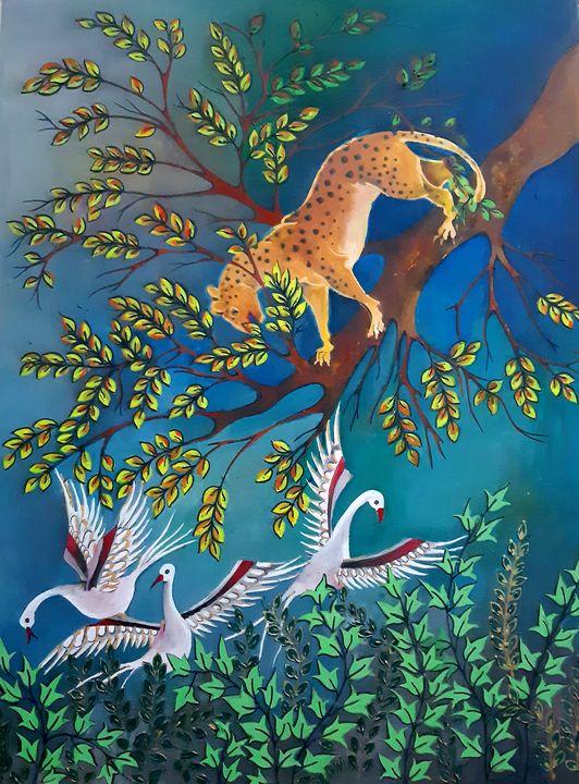 a tiger with birds - borda