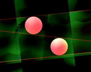 Composition in Green and Pink