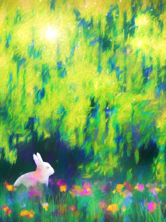 Bunny beneath the Willow Tree - Jon Woodhams
