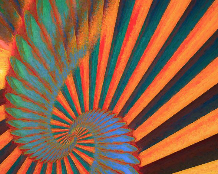 Composition in Orange, Blue & Green - Jon Woodhams