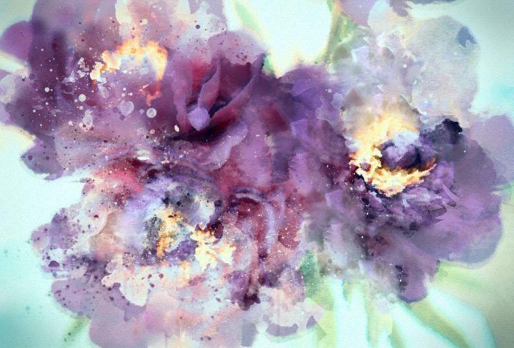 Dusty Purple Camellias in Watercolor - Susan Maxwell Schmidt Visual Fine Art