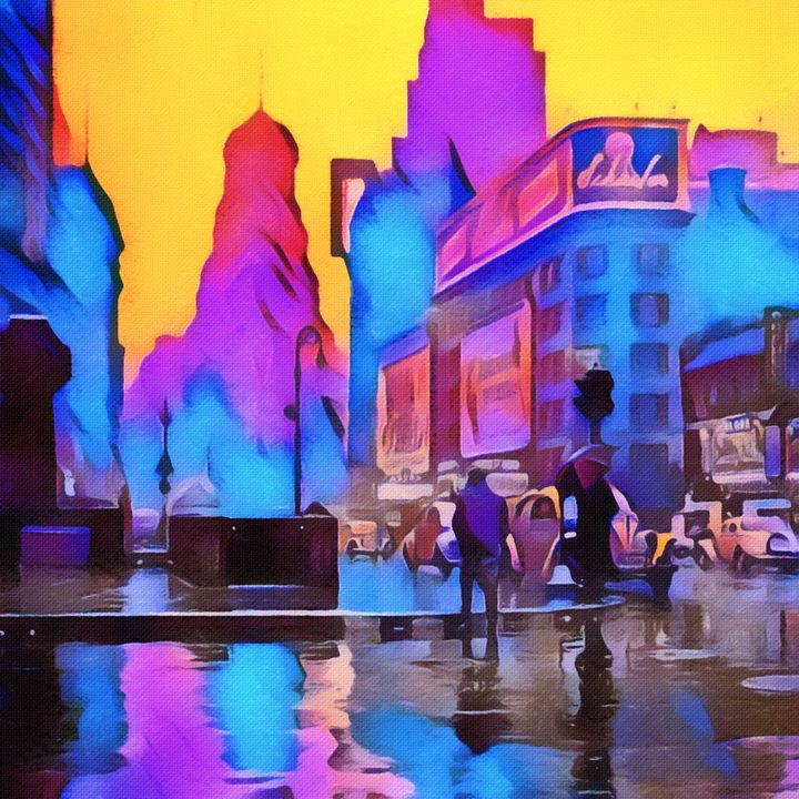 1940s Times Square Rain - Susan Maxwell Schmidt Visual Fine Art