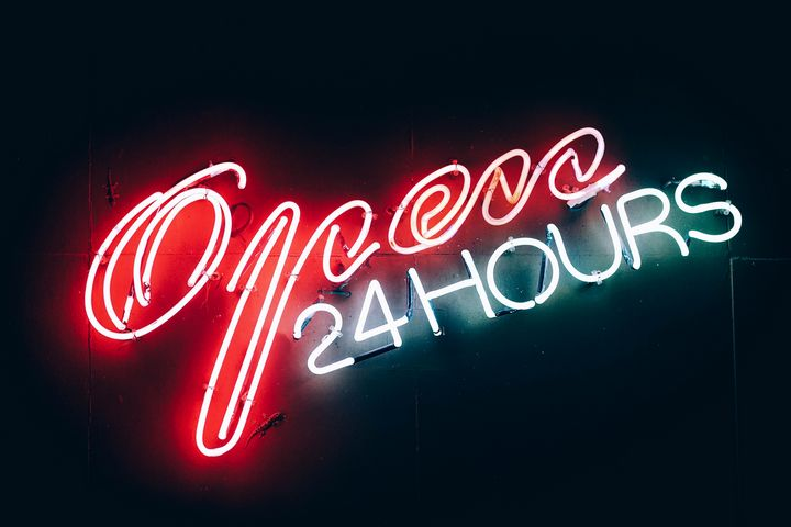 Open 24 hours neon signboard - Richard Deen