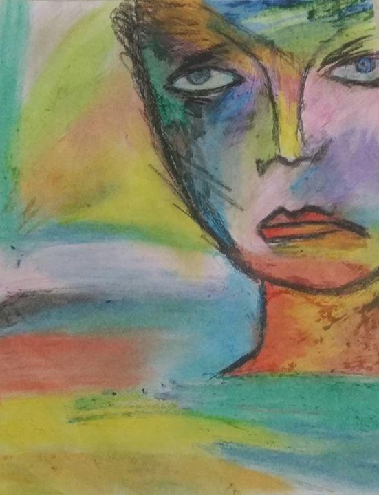 Oil pastel face - Love art❤