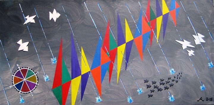 Rainy Day Sailing Regatta - Creative Artwork