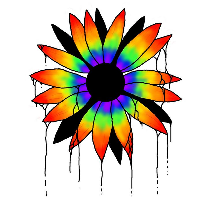 Dripping Rainbow Sunflower - Purple Ouija Arts