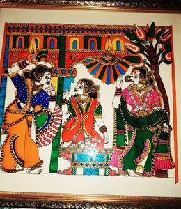 Relegious Mata Seeta Glass Painting