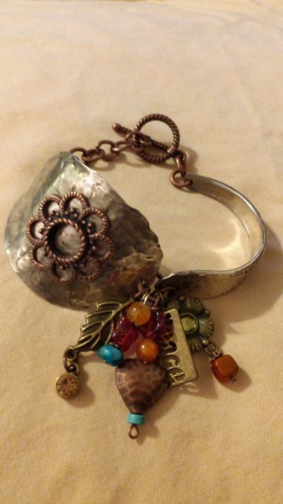 Boho mixed metal bracelet - Silver spoon designs by Bonita