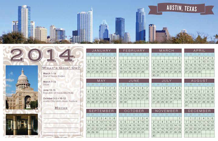 2014 Austin Texas Calendar - Kimmee's Prints