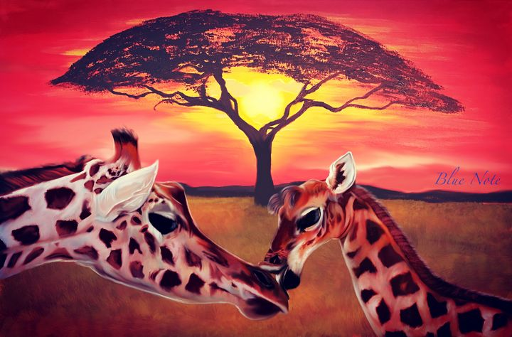 Baby Giraffe Kiss - Blue Note Art