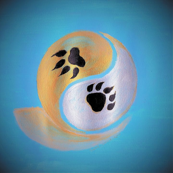 Yin Yang Paw Prints - Blue Note Art