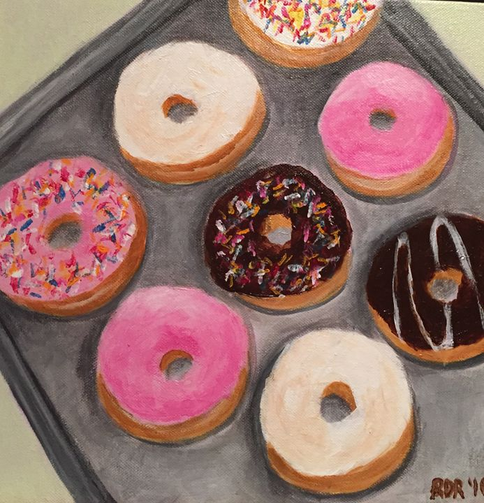Donuts Acrylic on Paper - Rosemary Ramsey