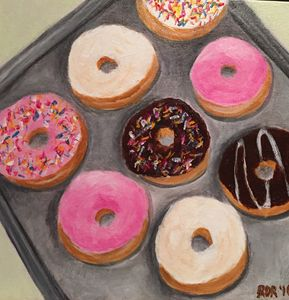 Donuts Acrylic on Paper