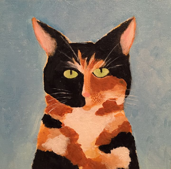 Calico Torti Cat Acrylic on Canvas - Rosemary Ramsey
