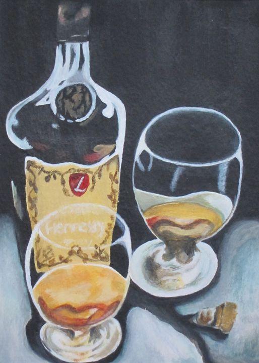 Liquor Lover Cognac Acrylic on water - Rosemary Ramsey