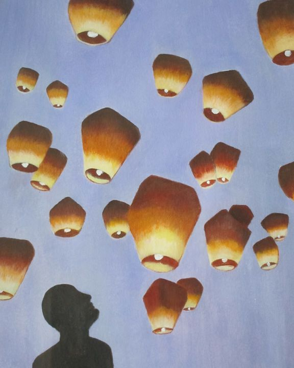 """""""Lift Off"""" Paper Lanterns in the Sky - Rosemary Ramsey"""