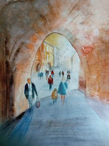 A day in krakow original watercolour - Trevor Partridge