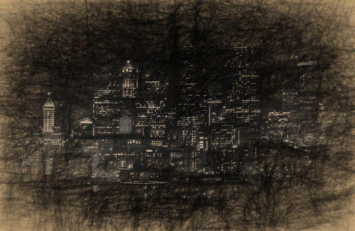 Seattle skyline in charcoal - Stefan Roberts