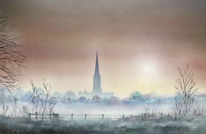 Salisbury cathedral misty sunrise - MR BUCKLEYS
