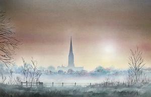 Salisbury cathedral misty sunrise