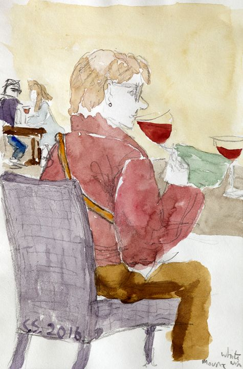 Sipping red wine - clifford shirley