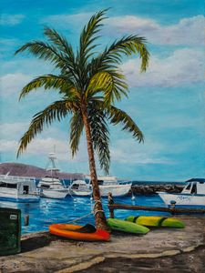 Lahaina Harbor and Palm Tree
