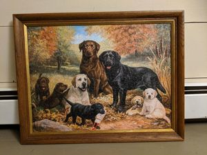 """Lab Family"" Puzzle Decoupage Framed"