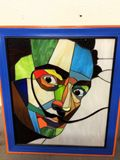 stained glass portrait of Salvador D