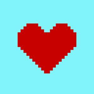 Pixel art heart on blue background