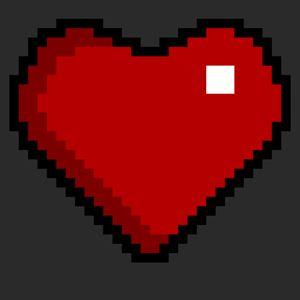 Pixel art heart red on black