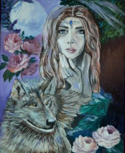 Girl with wolf - Art by Margo