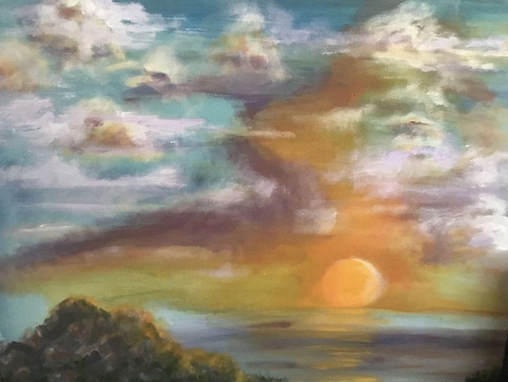 Sunsetting Before Snow Moon - Art-Completes The Circle
