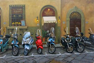 Vespas at the Trattoria, Florence