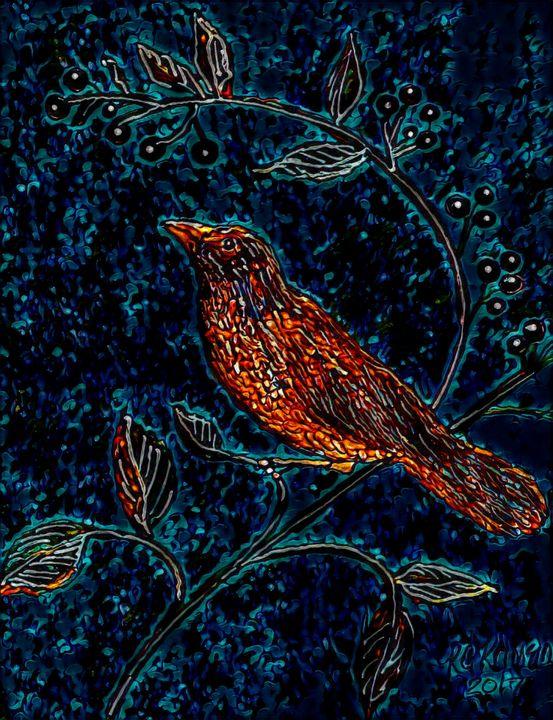 Blackberry Blues Bird by KC Krimsin - The KC Krimsin Kollection
