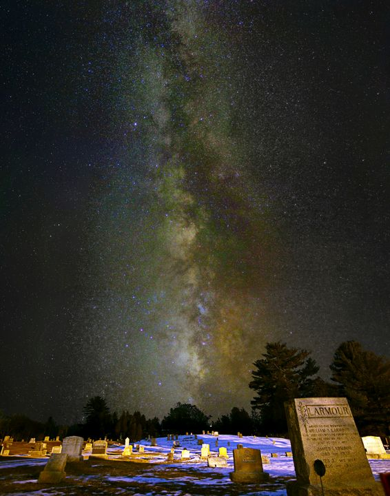 Milky Way tower above graves - 4 AM Photography