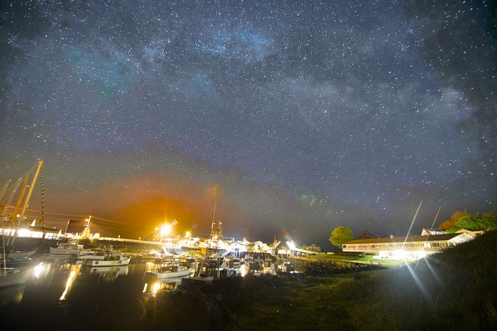Milky way over Gloucester Harbor MA - 4 AM Photography