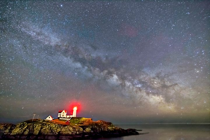 Milky Way over Nubble Light - 4 AM Photography