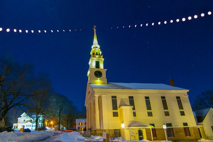 Lunar Eclipse and Church Spire - 4 AM Photography