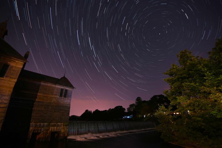 Star Trials over Dam Spillway - 4 AM Photography