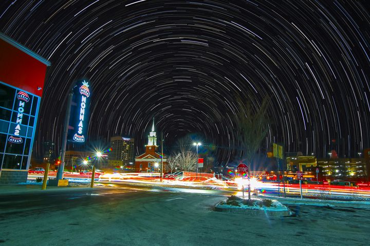Star Trails over Worcester MA - 4 AM Photography